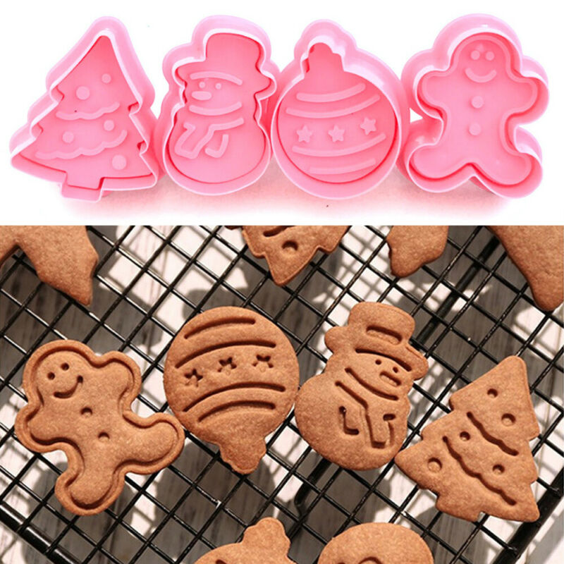 4Pcs Christmas Cookie Plunger Cutter Mould Fondant Snowman/Xmas Tree Baking Mold