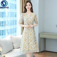 2021 Print Floral Chiffon Boho Beach Sundress Summer Plus Size Vintage Runway Midi Dresess Elegant Women Bodycon Party Vestidos