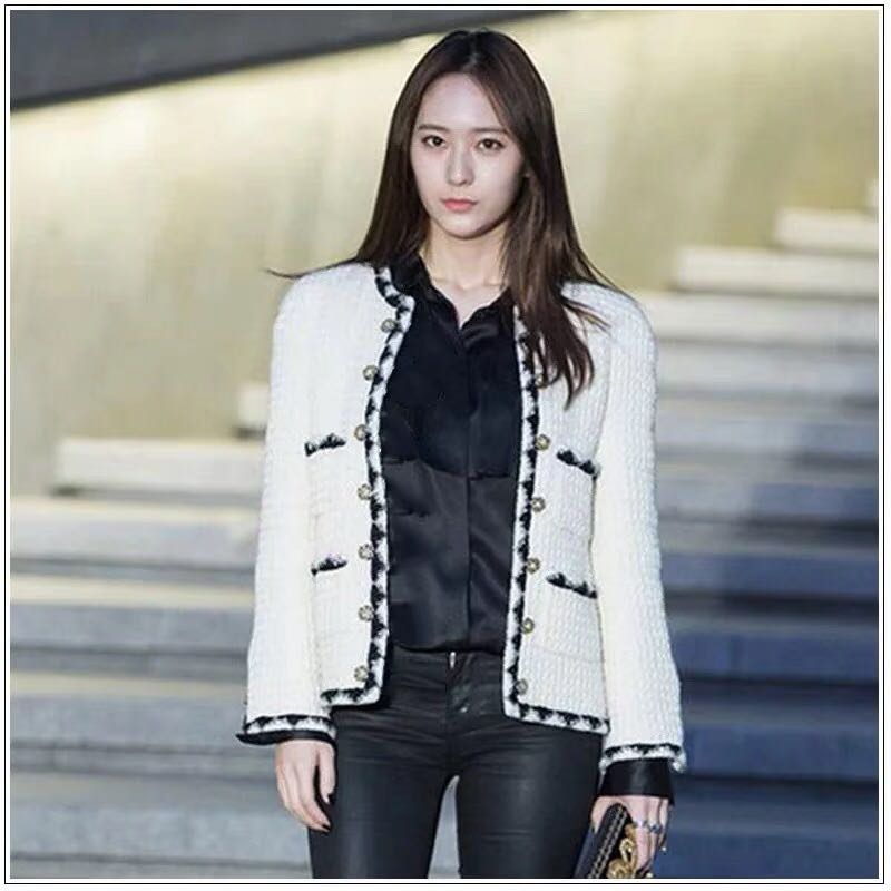 New Small fragrant classic 4 Pocket black and white color matching wool coat