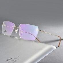 Homem retangular sem aro óculos quadros leves lente clara óculos ópticos ultra leve leitores para homem