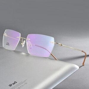 Image 1 - Männer Rechteckigen Rimeless Brillen Rahmen Leichte Klare Linse Optische Brillen Ultra Leichte Leser für Männer Frauen