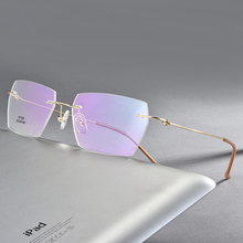 Men Rectangular Rimeless Eyewear Frames Lightweight Clear Lens Optical Eyeglasses Ultra Lightweight Readers for Men Women