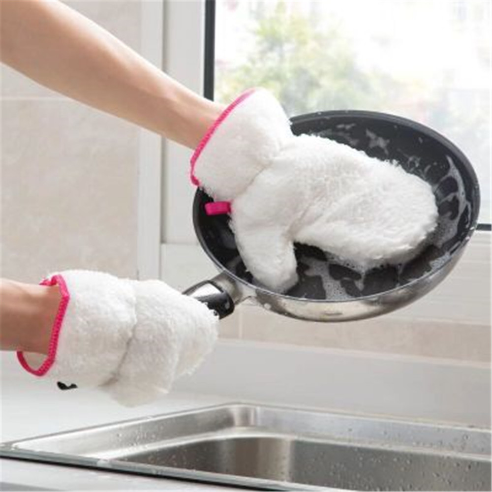 Bamboo Fiber Dishwashing Gloves Waterproof To Oily Household Kitchen Scouring Pad