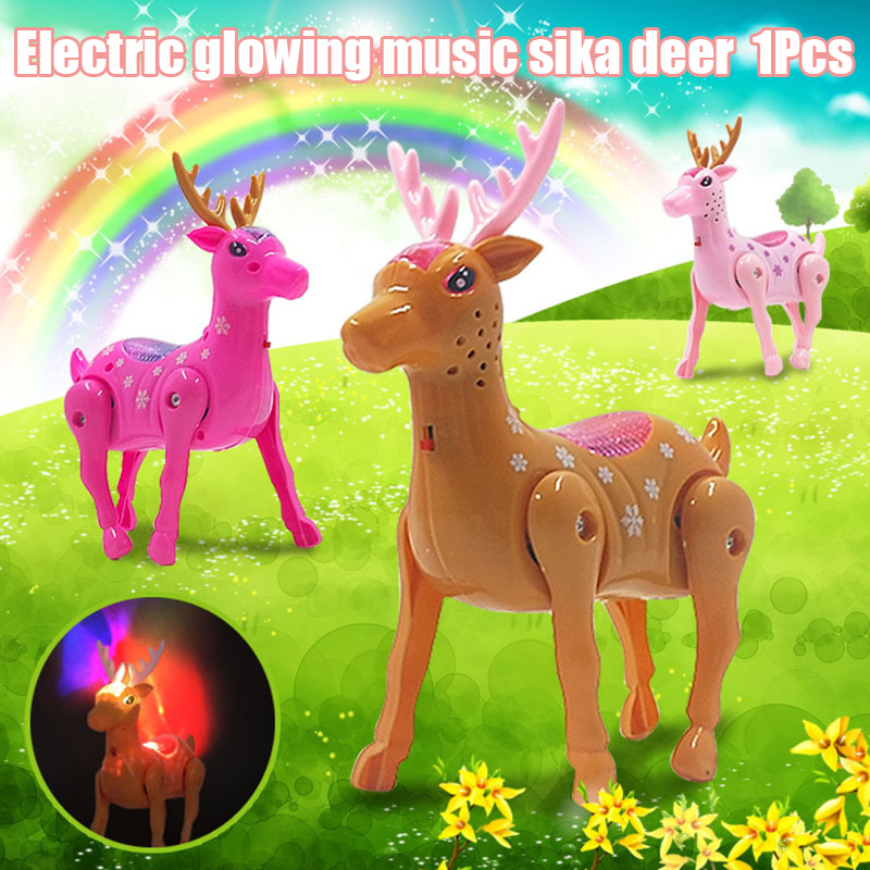 Glowing Deer Animal Toy Music Walking Educational Cute Gift For Children Kids S7JN