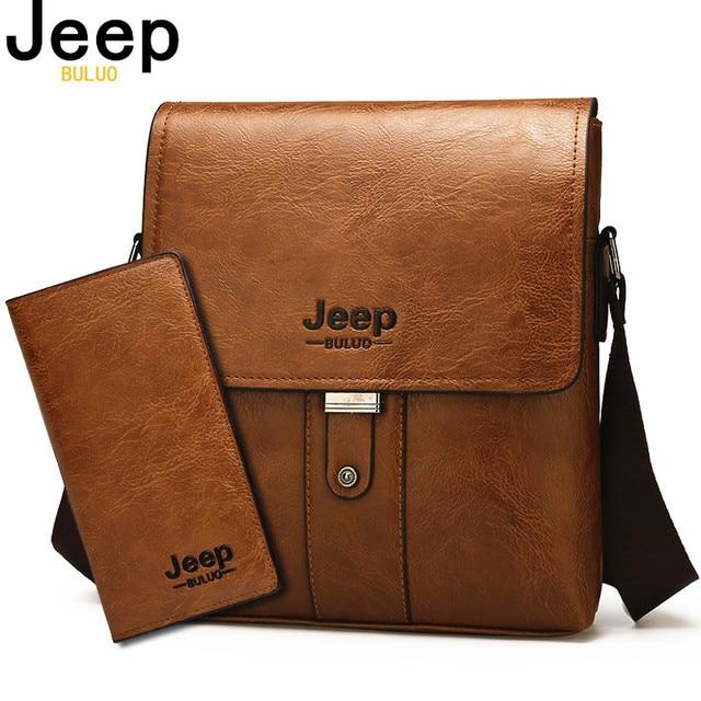 JEEP BULUO Men Shoulder Bag Set Big Brand Crossbody Business Messenger Bags For Man Fashion Casual pu Leather New Hot Salling