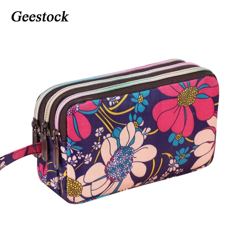 Geestock Women  3 Zippers Wallets Canvas Female Handbags Floral Handbag Organizer Clutch  Pouch Money Coin Rfid Key Wallet
