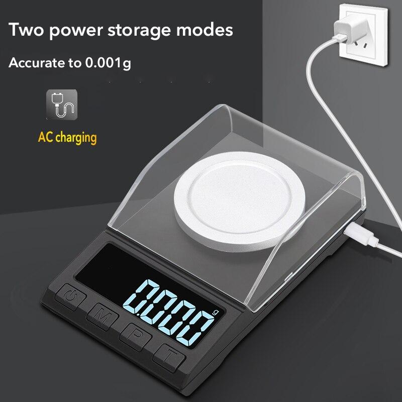 Зарядка через usb цифровые весы 10/20/50/100 г 0,001 Высокая Точность ювелирные весы, электронные весы с утяжелением платформа