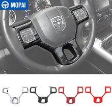 MOPAI ملحقات داخلية لتزيين عجلة القيادة لسيارة دودج رام 1500 ، ملصقات غطاء القيادة لسيارة دودج رام 1500 2010 2017