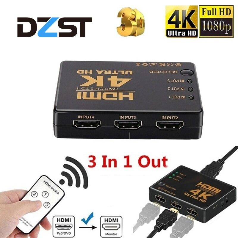 Full HD 1080P 4K 1 In 4 Out Verteiler HDMI Splitter 4 Port Switch für 3D HDTV PC