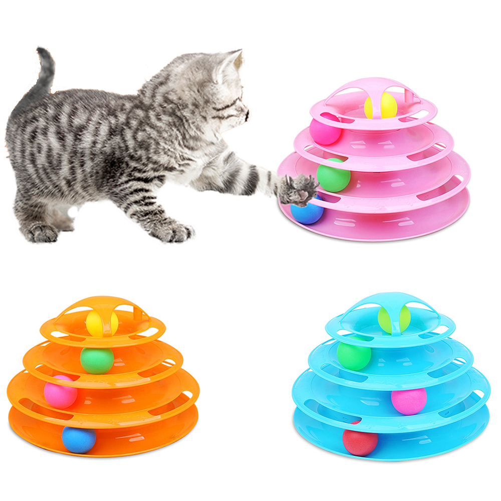 Cat Supplies 3 Levels Cat Toy Funny Tower Tracks Disc Cat Toys Ball Training Intelligence Amusement Plate Товары для животных
