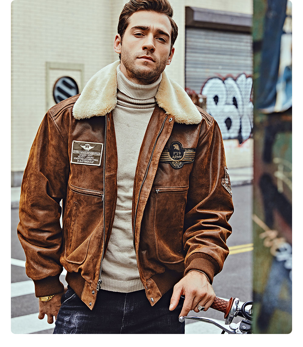 He237caa710a149b889632496b7deb6aeH FLAVOR New Men's Real Leather Bomber Jacket with Removable Fur Collar Genuine Leather Pigskin Jackets Winter Warm Coat Men