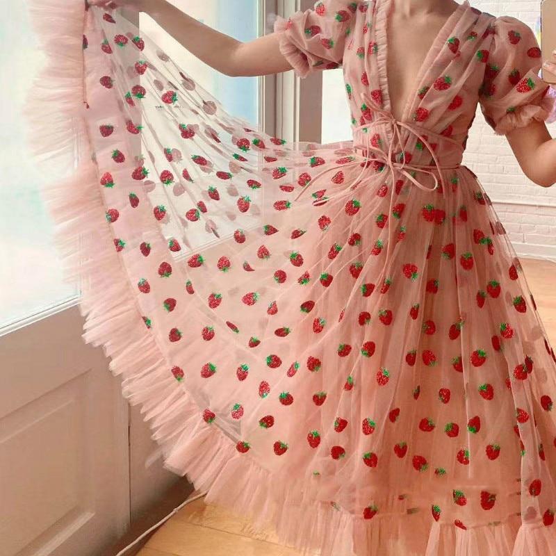 Women Strawberry Dress Women Elegant Party Dress V Neck Lantern Sleeve Floral Mid Sexy Dress Mesh Dress Vintage Dress