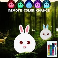 Remote Color Change Rabbit Smile Face Night Light USB Charging Bedroom Decor Bunny LED Lamp H1107