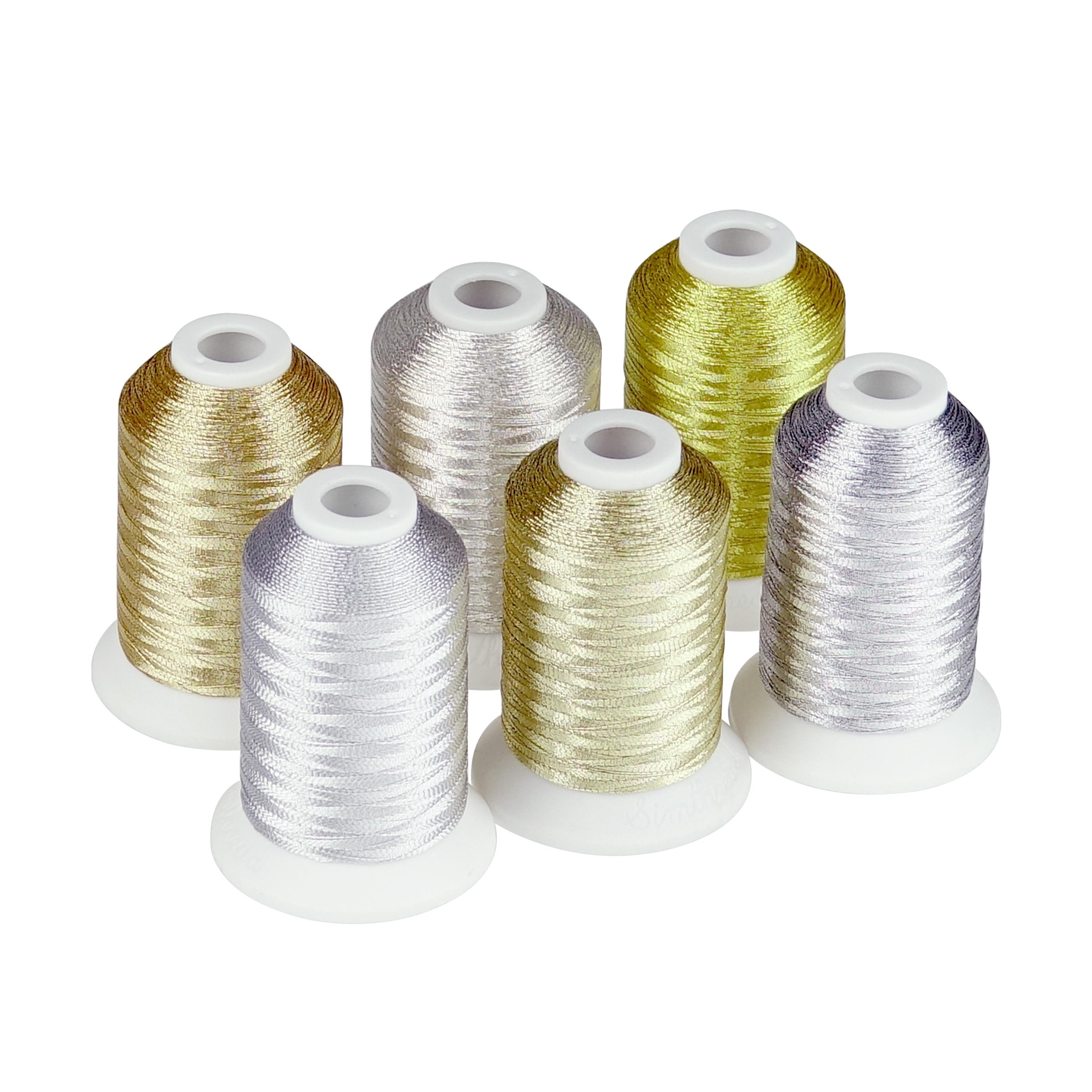 Simthread fio de bordado metálico, cores douradas e prateadas para mão ou máquina, 6 carreiras, 550 jardas cada