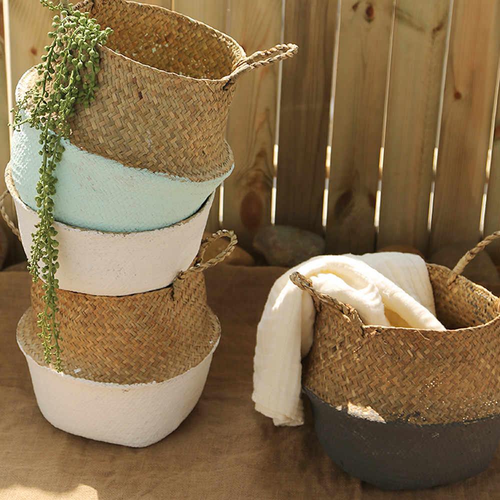 ดอกไม้ตะกร้า Seagrass หวายฟางสานตะกร้าติดผนังพับประดิษฐ์ดอกไม้ Organizer Ganchos Guirnalda ตะกร้าดอกไม้