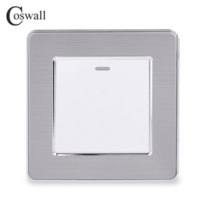 Image 2 - Coswall 1 Gang 1 Way Rocker Light Switch On / Off Wall Switch Stainless Steel Brushed Panel AC 12~250V White Black Gold
