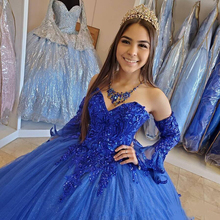 GY Princess Arabic Royal Blue Quinceanera Dresses Lace Applique Beaded Sweetheart Prom Dresses Lace-up Sweet 16 Party Dress
