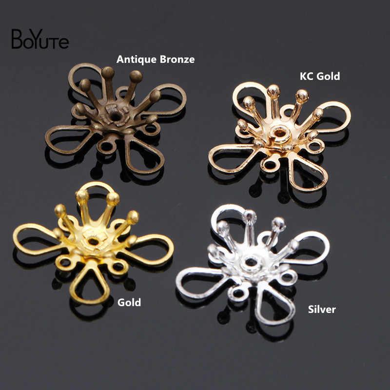 BoYuTe 50 adet Metal pirinç damgalama telkari çiçek aksesuarları parçaları gelin saç takı yapımı