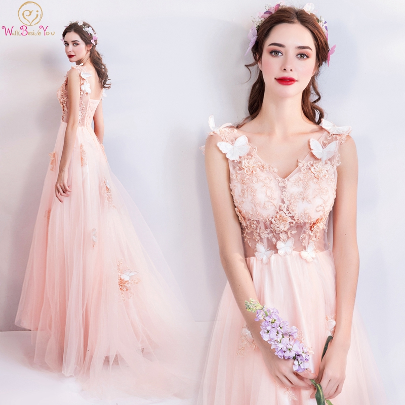 Light Pink Prom Dresses 2019 Vestido De Graduacion V Neck Lace Appliques Beaded Tulle See Through Evening Gowns Formal Party