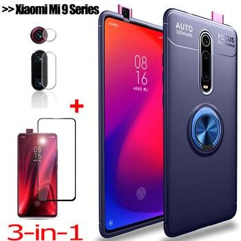 3-in-1 Phone Case + Camera Glass for Mi 9T Pro Magnetic Ring Holder Silicone Cover Mi9SE Xiaomi Mi9T Xiomi 9 T Pro Case Mi 9Lite