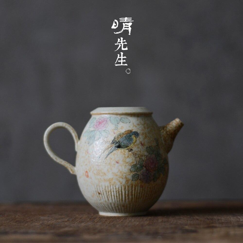 Jindezhen ручная Пастельная живопись цветов и птиц в традиционном китайском стиле черный чай кунг фу онлайн чайник керамический фильтр
