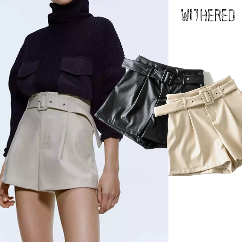 Withered England Style Office Lady Solid High Waist With Belt Leather Shorts Women PU Short Feminino Plus Size Women Short