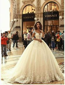 Image 2 - Robe de mariée élégante à manches 2020, robe de mariée élégante, modèle 3/4