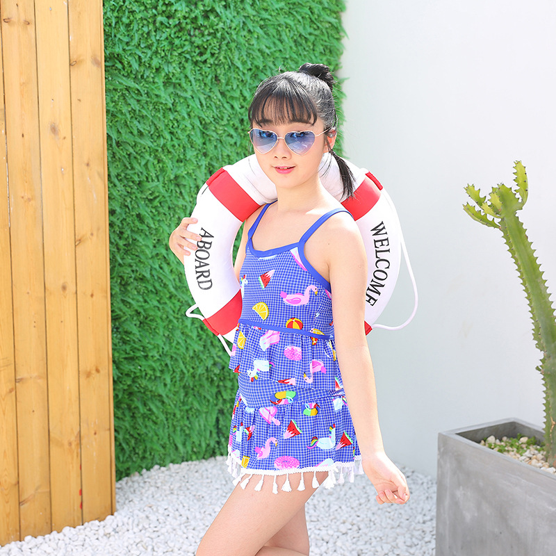 2019 New Style Camisole Split Type Two-Piece Set KID'S Swimwear Girls Big Boy Plaid Printed Cute CHILDREN'S Swimsuit