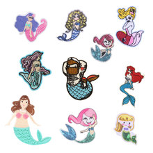 Sexy Mermaid Patch Sticker Iron on Clothes DIY Girl Heat Transfer Applique Embroidered Application Cloth Fabric Sequin Patches H