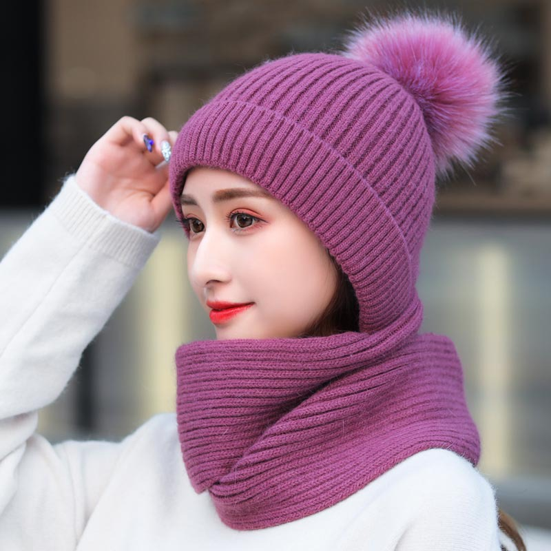 Women Winter Hat Scarf Gloves Set For Girls Kitted Thicken Warm Plus Velvet Hat Girl Fashion Soft Solid Female Cap