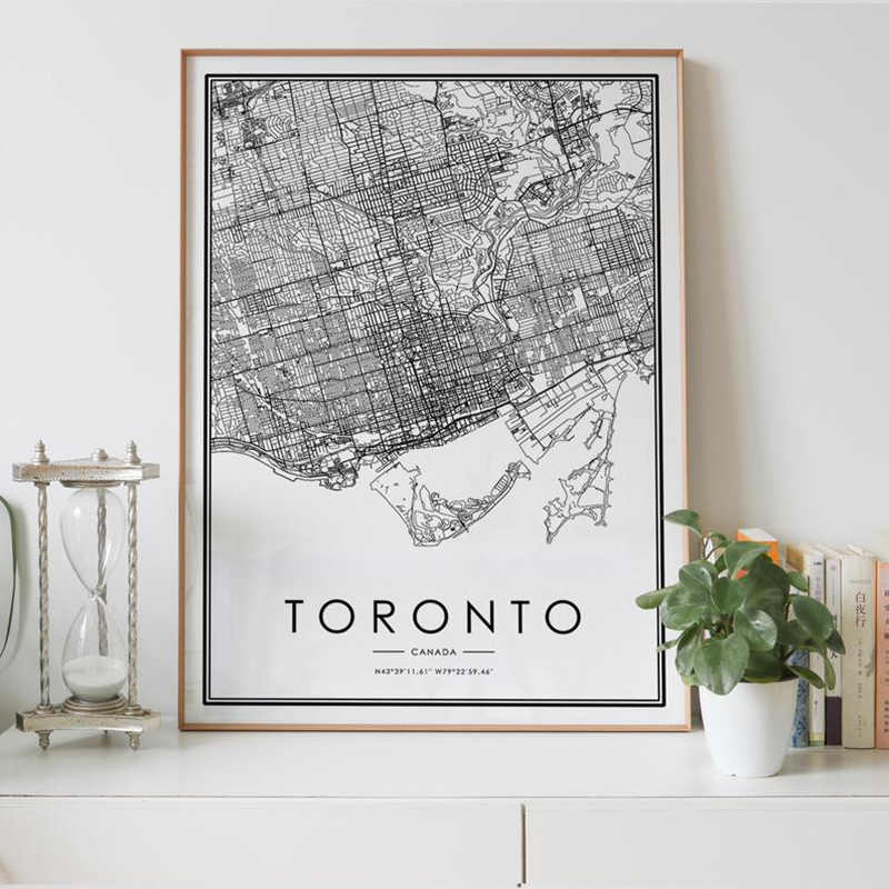 Toronto City Map Digital Download Black And White Print Of Canada Poster Personalized Wall Art Decor Artwork Printable Gifts Painting Calligraphy Aliexpress