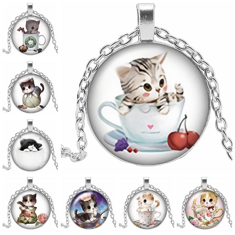 2019 novo clássico bonito gato dos desenhos animados gato tricolor colar redondo vidro convexo bonito colar corrente presente camisola corrente