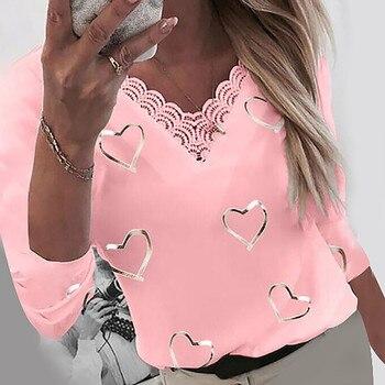Camisas de encaje con estampado de corazones para mujer, Tops de retales de manga larga con cuello en V, blusa Harajuku elegante de talla grande, blusa, pulóver 1