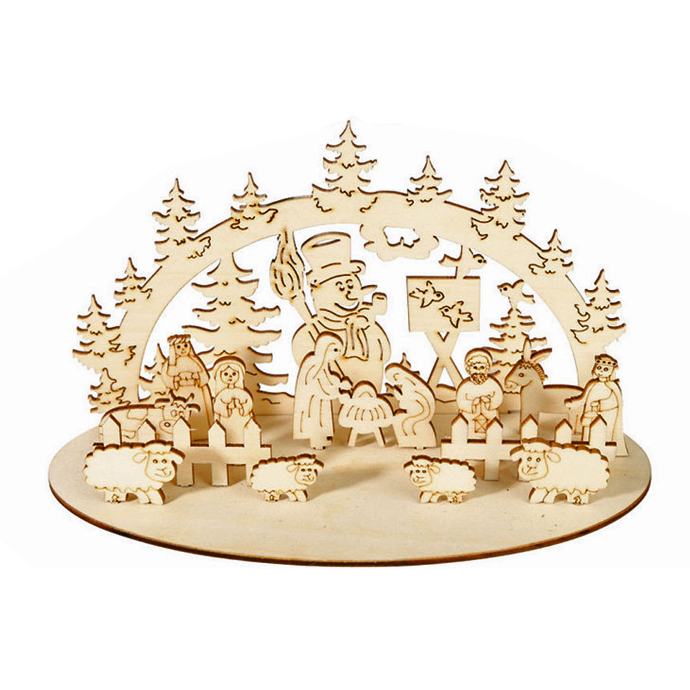 DIY Christmas Wooden Toy Xmas Funny Party Desktop Decoration Christmas Wooden Ornaments Three-dimensional Kids Toy Decoration 20