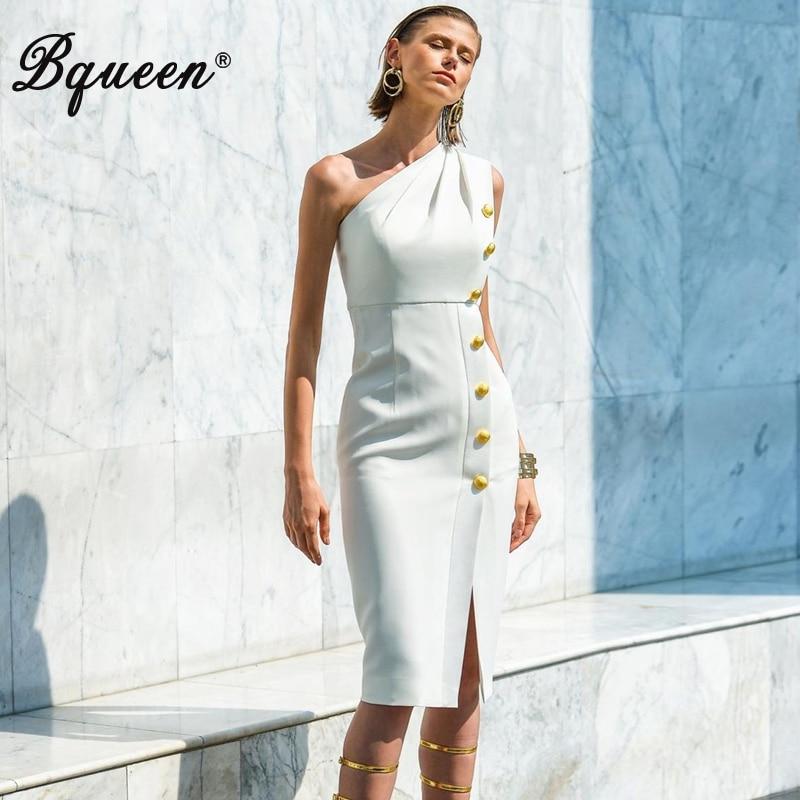 Bqueen 2019 mode nouvelles femmes une épaule sans manches en métal bouton genou-longueur moulante robe Split parti Club Vestidos blanc