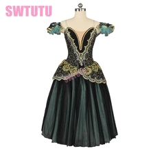 Green adult performance ballet tutu romantic ballet dress professional ballet stage long skirt costume BT9168