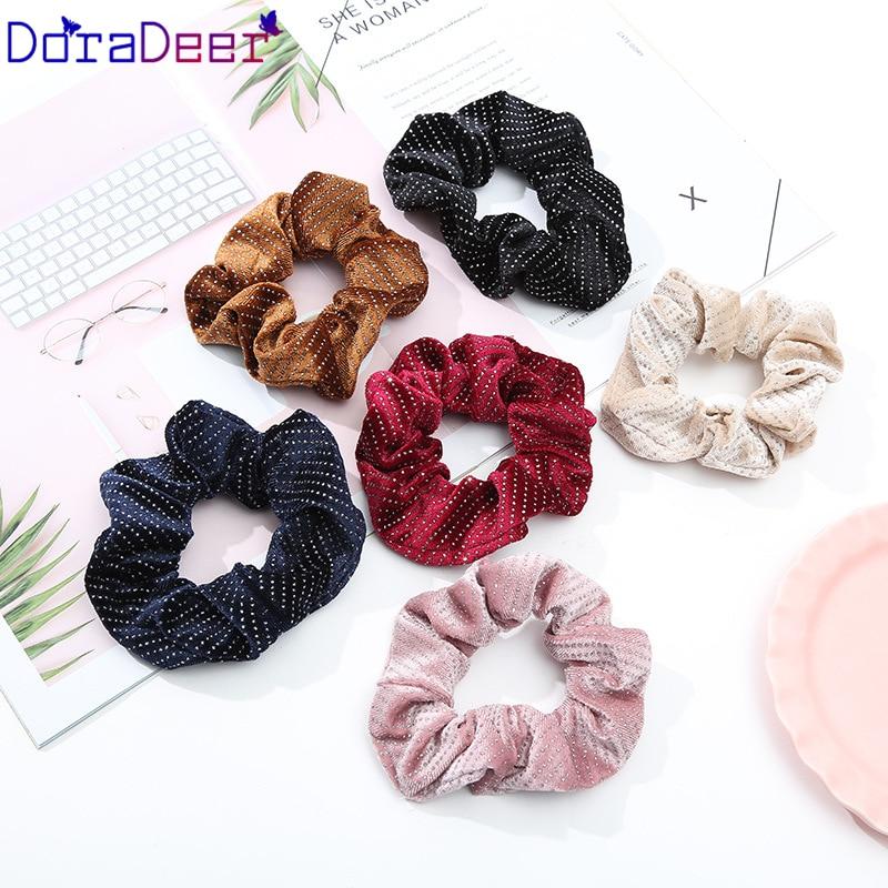 DoraDeer резинки в горошек для девочек, светильник, аксессуары для волос, женские банданы с принтом, для девушек, конский хвост, повязка для