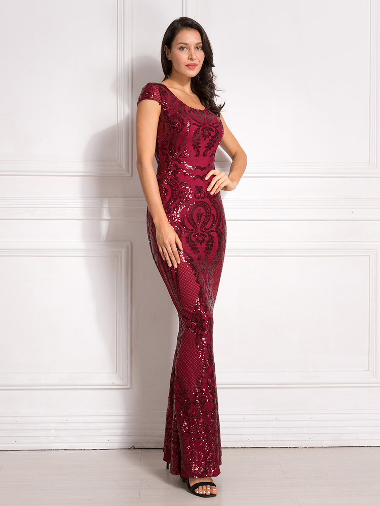 Burgundy Sequined Evening Party Dress Cap Sleeve Floor Length Stretchy Maxi Dress 2019 Autumn Winter 9
