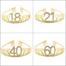 Украшения для вечеринки в честь Дня рождения 10, 13, 16, товары для девочек, милая головная повязка для дня рождения 21, 30, 35