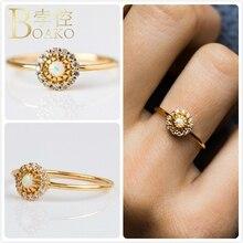 Vintage Fire Opals Rings For Women Wedding Engagement Promise Ring Australia Gem Stone anillo Girl Gift Zircon Flower K5