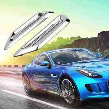 2x Chrome Car SUV Air Flow Fender Side Vent Decoration Sticker Accessories Chrome Tone Universal Self-Adhesive Air Flow Vent image