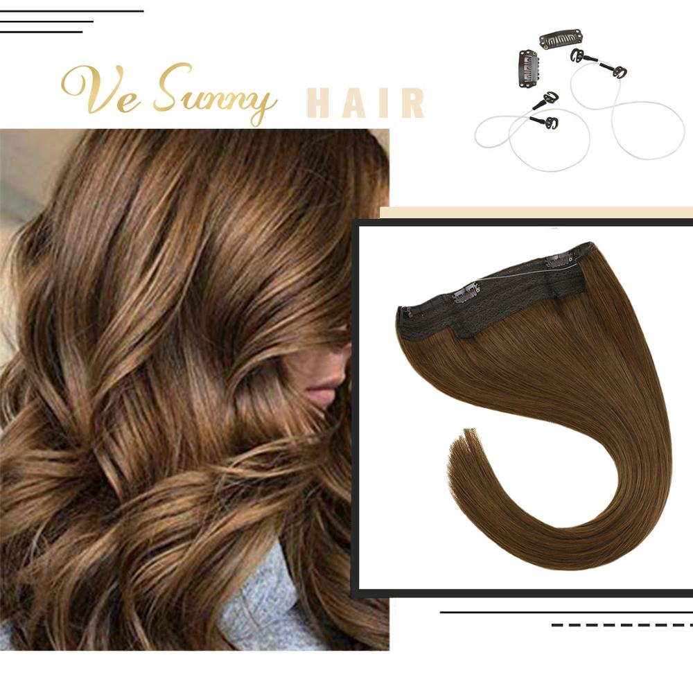 VeSunny One Piece Halo Hair Extensions Invisible Fishing Line 100% Real Human Hair Flip In Wire With 2 Clips On Medium Brown #6