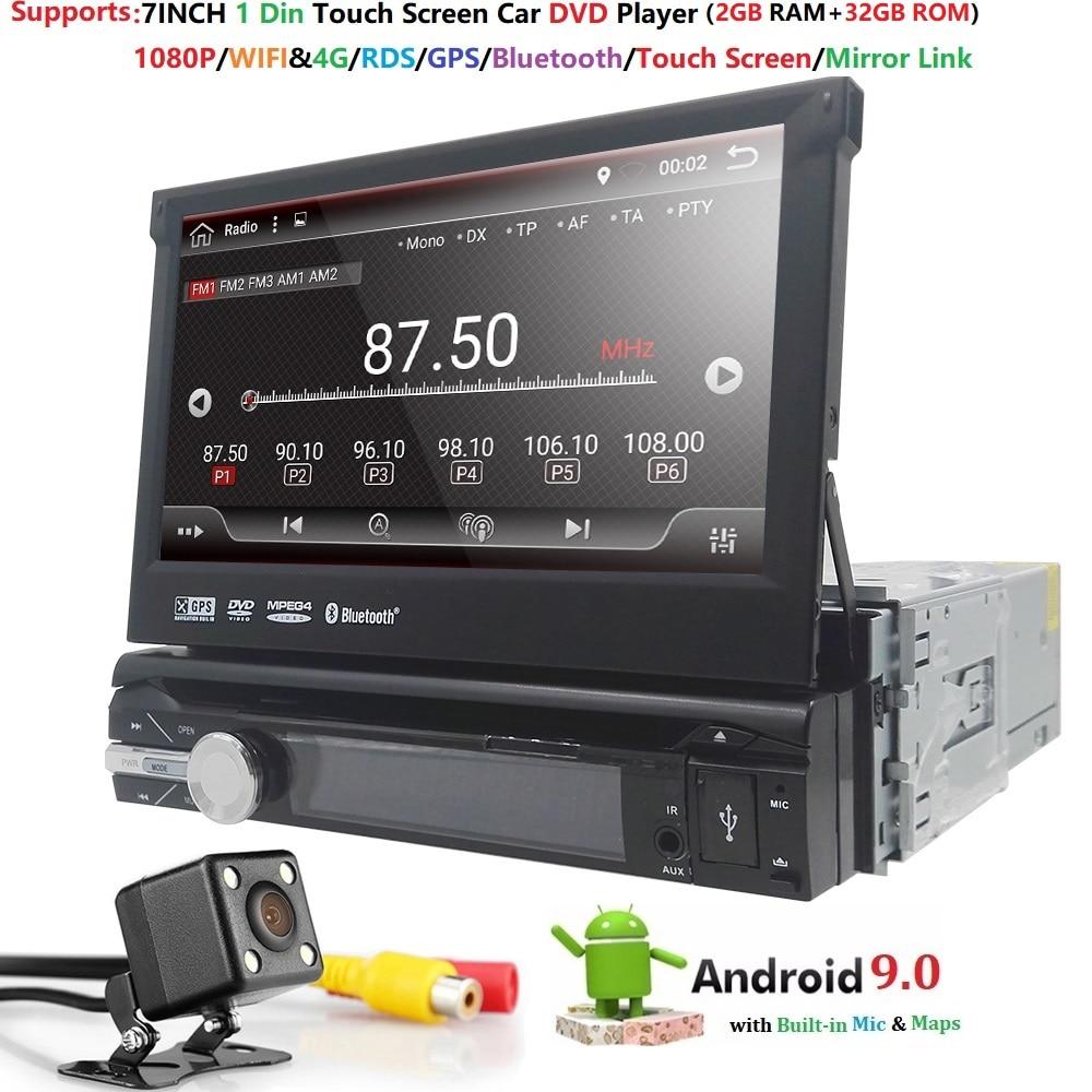 Android 9 1din Выдвижной Автомобильный Радио MP3 плеер 7 HD Универсальный автомобильный стерео радио плеер Bluetooth FM USB резервная камера мультимедиа