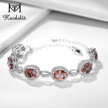 Kuololit Diaspore Gemstone Bracelets For Women 925 Sterling Silver Jewelry Charm Sultanite Bracelet for Romantic Tennis Bracelet