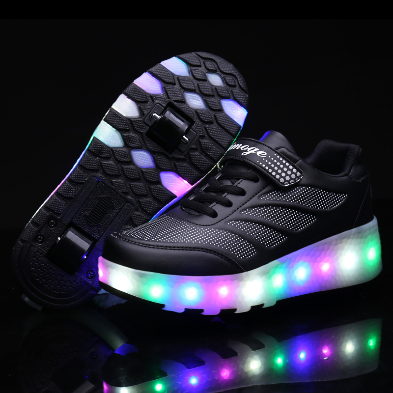 Two Wheels Luminous Sneakers Blue Pink Led Light Roller Skate Shoes For Children Kids Led Shoes Boys Girls Shoes Light Up  Heely