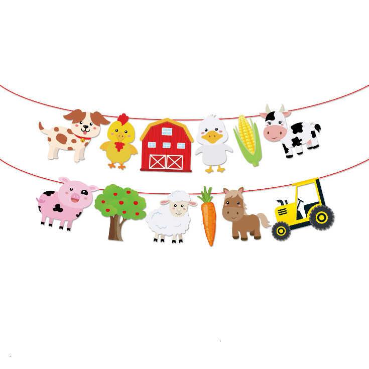 1 مجموعة مزرعة الحيوان كعكة توبر القبعات العالية البقرة خنزير راية الحصان الأسد الحيوانات الأليفة المشي بالونات الاطفال هدية حفلة عيد لوازم الديكور