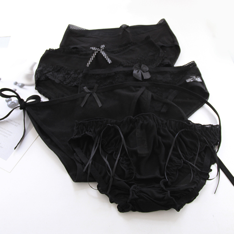 2021 new girls underwear 5pc mix lace cotton black low waist  briefs young girl panties Teenagers wholesales summer hot sales 1