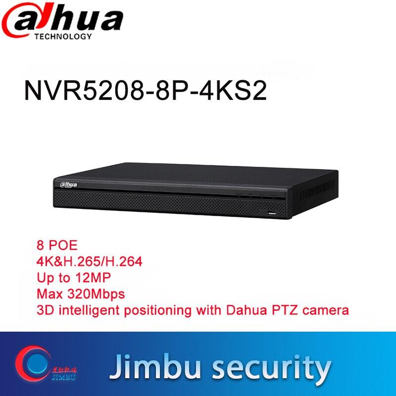 Dahua NVR5208-8P-4KS2 NVR 4K 8CH enregistreur vidéo tripwire détection de visage 8 POE 4K & H.265 jusqu'à 12mP 3D AI recherche