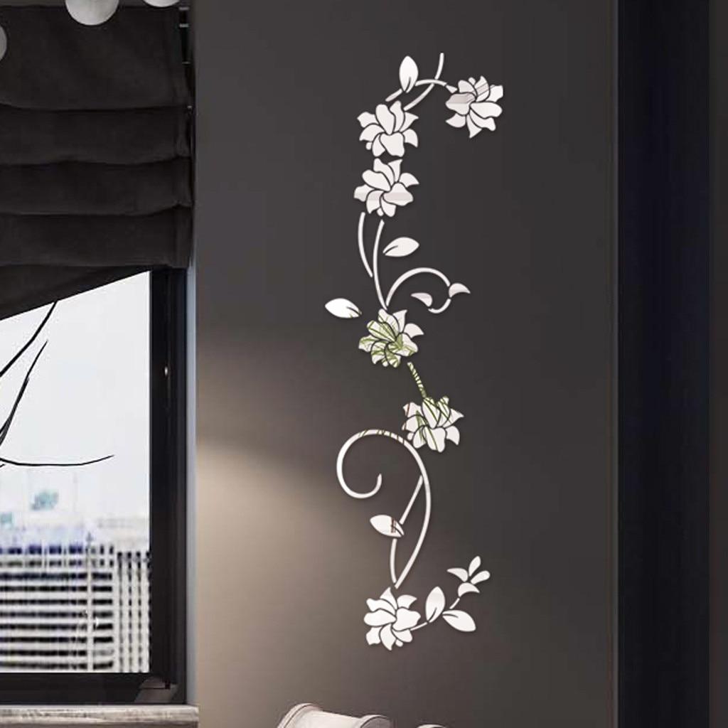 Espelho adesivo de parede 3d diy flor forma acrílico adesivo de parede moderno adesivos decoração muraux decoração da sala estar