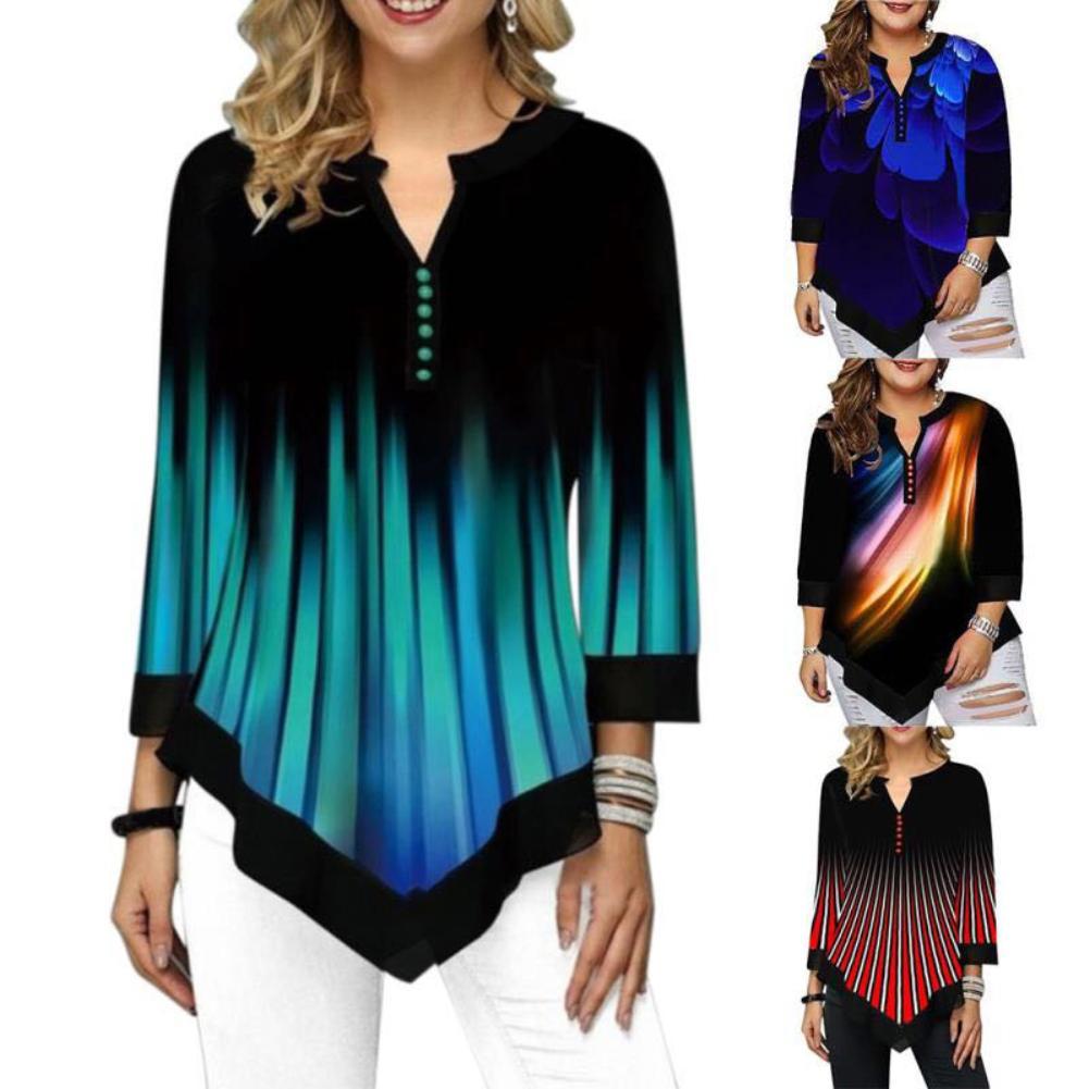 Spring T Shirt Women V-neck Printed Button With Irregular Hem 3/4 Sleeve Shirt T-shirt